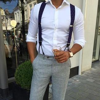 How to wear: white dress shirt, grey seersucker dress pants, navy suspenders, dark brown leather watch