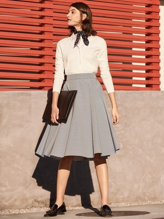 How to wear: white dress shirt, grey horizontal striped full skirt, black leather tassel loafers, black and white polka dot bandana