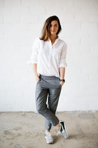 Opt for a white oxford shirt and grey jogging pants to demonstrate you've got serious styling prowess. Mix things up by wearing sneakers. As the weather begins to warm up again, it's time to get rid of those bulky winter gear and choose an ensemble that's lighter, like this one here.