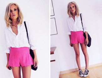 Women's White Dress Shirt, Hot Pink Shorts, Black and White Low ...