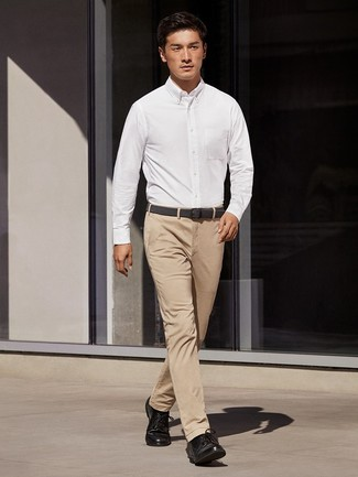 Men's White Dress Shirt, Khaki Chinos, Black Leather Derby Shoes, Black Woven Canvas Belt