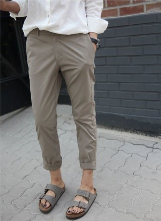 How to Wear Grey Leather Flat Sandals: If you don't take fashion too seriously, go for cool and casual style in a white dress shirt and khaki chinos. For a more relaxed aesthetic, why not add a pair of grey leather flat sandals to the equation?
