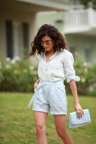 This combination of a jcpenney women's Stylus Stylus Classic Fit Button Front Oxford Shirt and light blue shorts is simple, absolutely chic and very easy to replicate! What better choice for a super hot warm weather day?