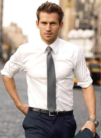 Men's White Dress Shirt, Navy Dress Pants, Grey Tie, Black Leather ...