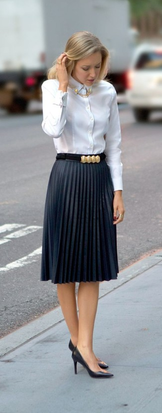 Women's White Dress Shirt, Navy Pleated Midi Skirt, Black Leather Pumps, Gold Ring