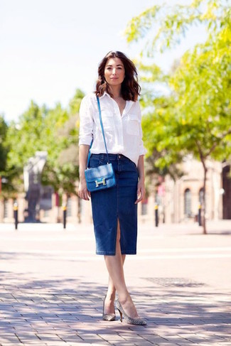 How to wear: white dress shirt, navy denim pencil skirt, white and black horizontal striped leather pumps, blue leather crossbody bag