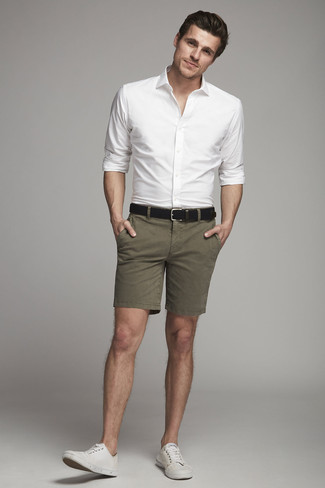 How to wear: white dress shirt, olive shorts, white canvas low top sneakers, black leather belt