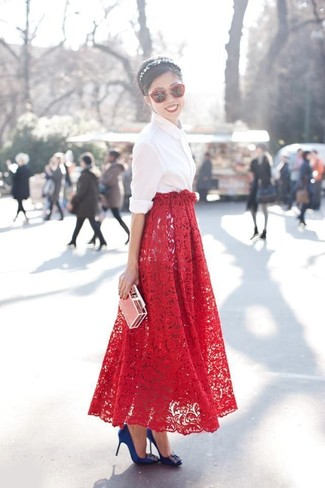 How to wear: white dress shirt, red lace maxi skirt, blue embellished satin pumps, red sunglasses