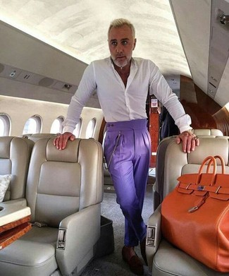 How to wear: white dress shirt, violet dress pants, dark brown suede loafers, orange leather tote bag