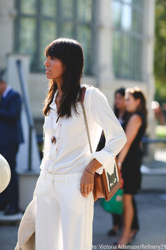 How to wear: white silk dress shirt, white dress pants, brown embroidered leather crossbody bag, gold pendant