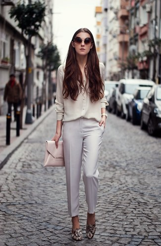 How to wear: white silk dress shirt, white dress pants, grey snake leather loafers, pink leather clutch
