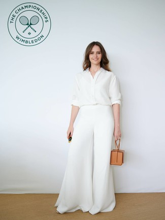 How to wear: white silk dress shirt, white wide leg pants, tan leather handbag, dark green sunglasses