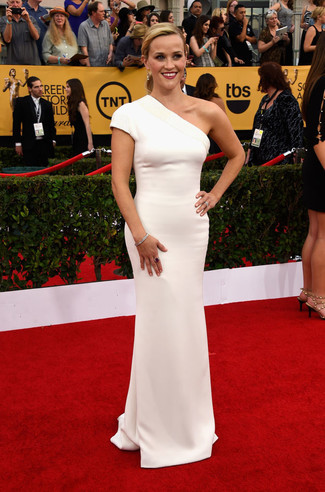 Reese Witherspoon wearing White Evening Dress