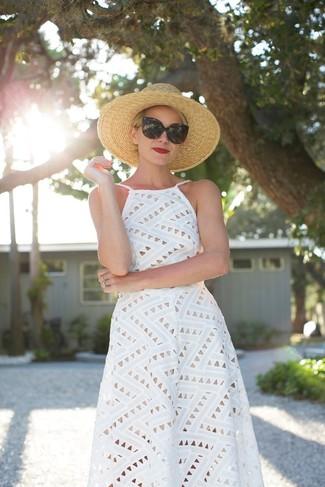 Women's White Eyelet Midi Dress, Khaki Straw Hat, Black Sunglasses