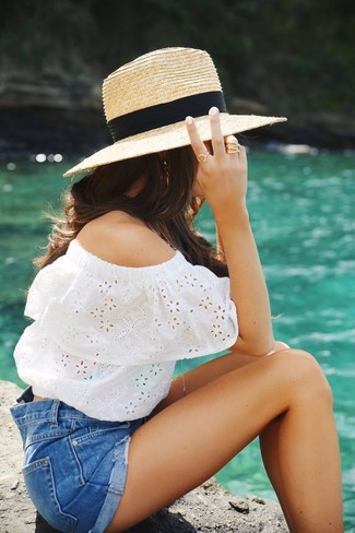How to wear: white eyelet off shoulder top, blue denim shorts, khaki straw hat