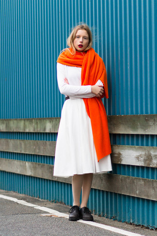Orange Scarf Outfits For Women: If you're a jeans-and-a-tee kind of gal, you'll like the pared down yet absolutely chic combination of a white fit and flare dress and an orange scarf. Grab a pair of black leather oxford shoes to instantly switch up the outfit.