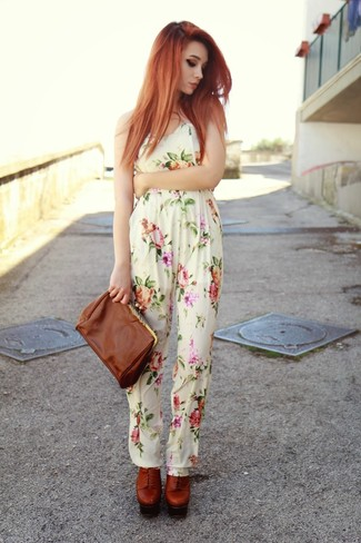 Women's White Floral Jumpsuit, Tobacco Leather Lace-up Ankle Boots, Brown Leather Clutch