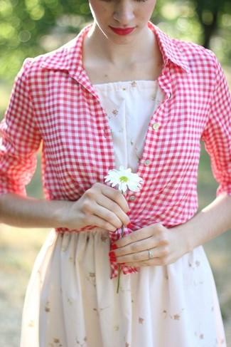 Women's White Floral Skater Dress, Red and White Gingham Dress Shirt