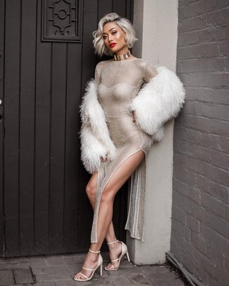 How to wear: white fur jacket, silver slit maxi dress, white leather heeled sandals, gold choker