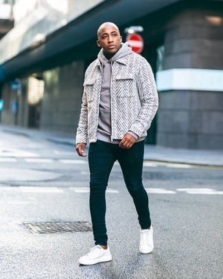 Men's Outfits 2020: A white wool harrington jacket and a beige hoodie are the kind of a foolproof casual getup that you need when you have zero time to pick out an outfit.