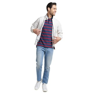 How to wear: white harrington jacket, navy horizontal striped polo, light blue jeans, white leather low top sneakers