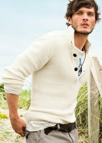 How to Wear a White Henley Sweater: A seriously stylish pairing of a white henley sweater and grey cargo pants will bring confidence and make you feel good.