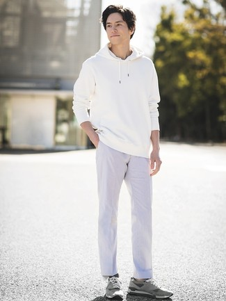 How to wear: white hoodie, white chinos, grey suede low top sneakers