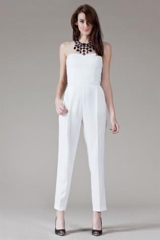 How to wear: white jumpsuit, black leather pumps, black necklace