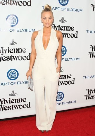 How to wear: white jumpsuit, silver sequin pumps, silver sequin clutch