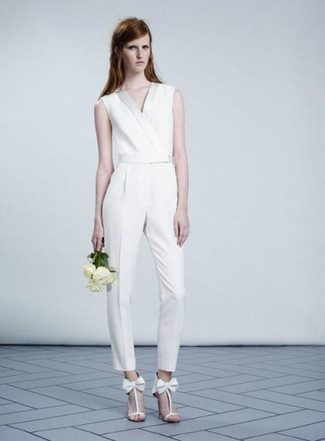 Open Back Silk Blend Jumpsuit White