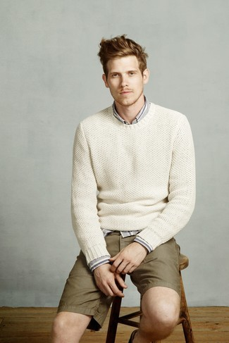 How to wear: white knit crew-neck sweater, grey vertical striped long sleeve shirt, olive shorts