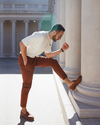 How to wear: white knit crew-neck t-shirt, tobacco chinos, brown leather loafers