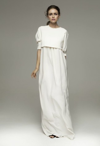 How to wear: white knit cropped sweater, white maxi dress, black leather gladiator sandals