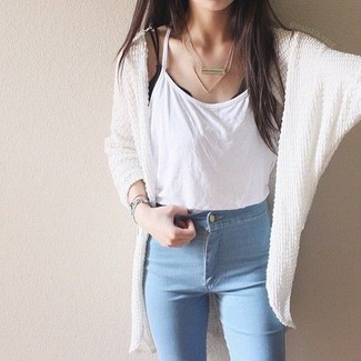 How to wear: white knit open cardigan, white tank, light blue skinny jeans