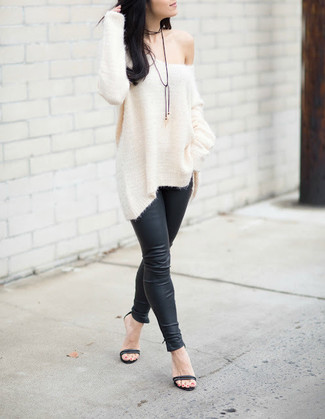 How to wear: white knit oversized sweater, black leather leggings, black leather heeled sandals