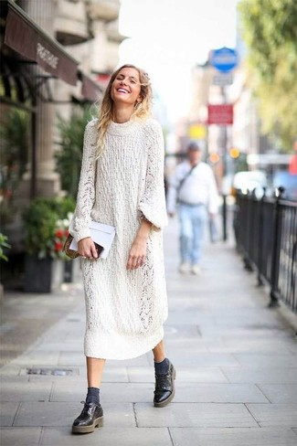 How to wear: white knit sweater dress, black leather derby shoes, charcoal socks