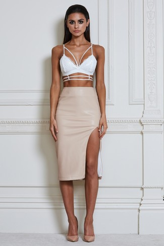 Opt For A White Lace Cropped Top And Camel Leather Skirt Glam