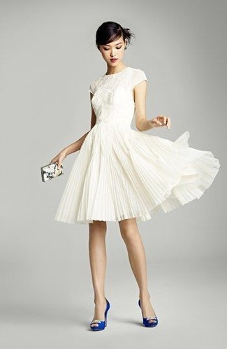 How to wear: white lace fit and flare dress, blue embellished satin pumps, white print clutch