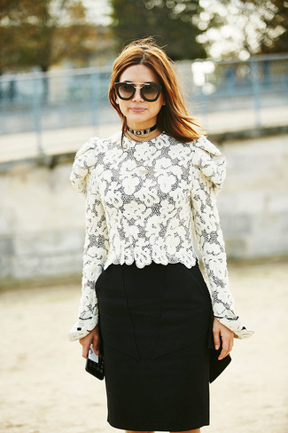 How to wear: white lace long sleeve blouse, black pencil skirt, black and gold sunglasses