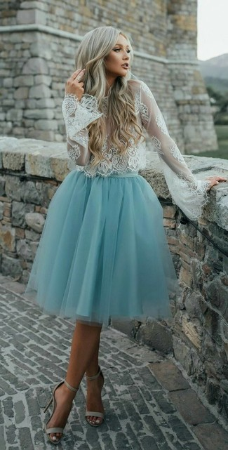 How to wear: white lace long sleeve blouse, light blue tulle full skirt, beige leather heeled sandals