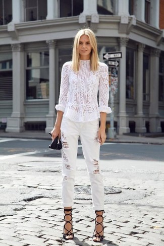 How to wear: white lace long sleeve blouse, white ripped boyfriend jeans, black leather gladiator sandals