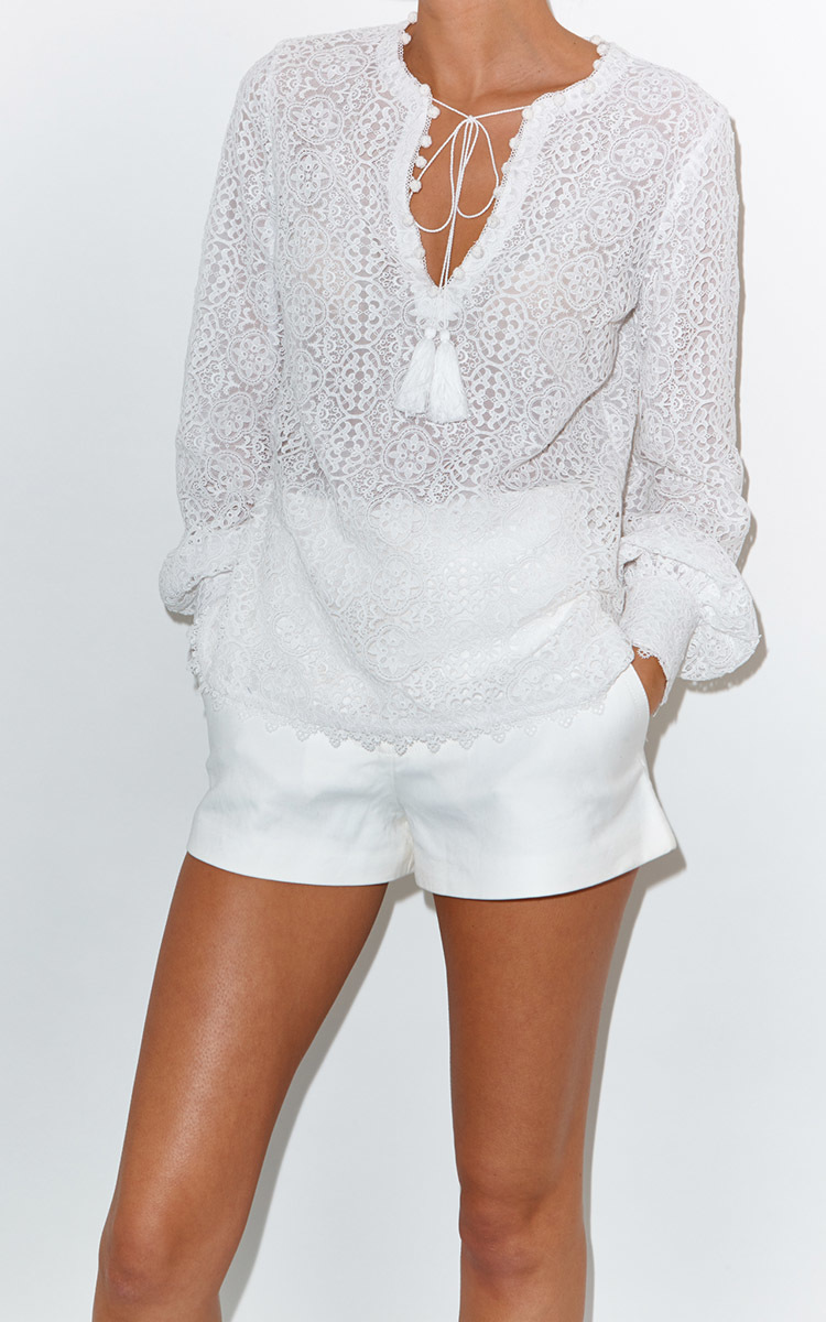 2ce5decb8 Women s White Lace Long Sleeve Blouse