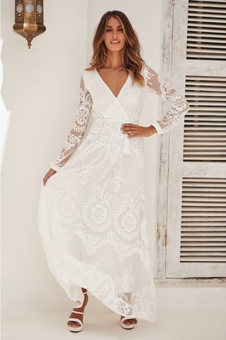 How to wear: white lace maxi dress, white leather heeled sandals