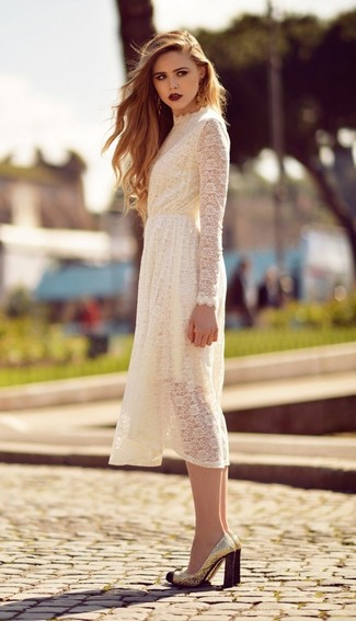 How to wear: white lace midi dress, gold sequin pumps