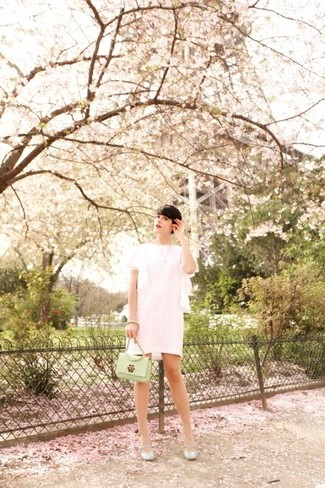 How to Wear a Mint Leather Crossbody Bag: A white lace shift dress and a mint leather crossbody bag teamed together are such a dreamy combo for those who love ultra-cool combinations. Add a pair of silver leather ballerina shoes to the equation and you're all set looking gorgeous.