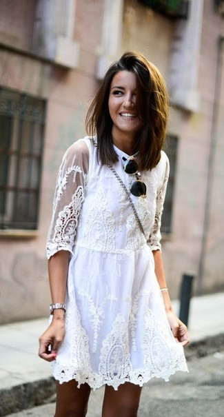 How to wear: white lace skater dress, black and gold sunglasses, silver watch