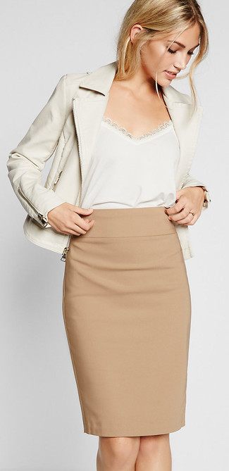 Tan Pencil Skirt | Women's Fashion