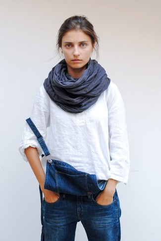 How to wear: white linen long sleeve blouse, blue denim overalls, navy linen scarf