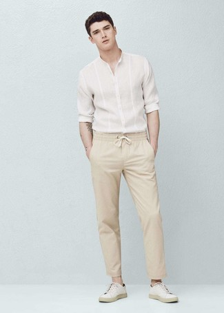 Beige Stretch Cotton Chino Pants