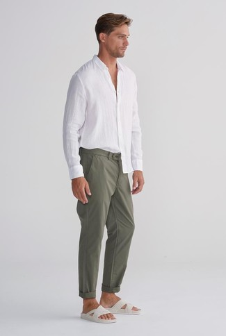 How to wear: white linen long sleeve shirt, olive chinos, white leather sandals